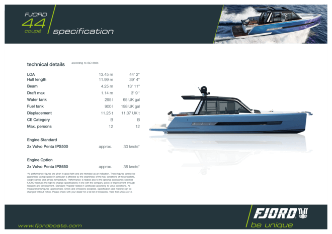 Fjord 44 coupé | Standard Specification | Fjord